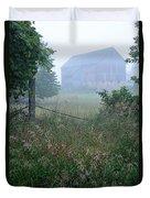 Barn In Fog Duvet Cover