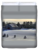 Barn In Snow In Color Duvet Cover by Donna Doherty