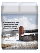Barn In Winter With Psalm Scripture Duvet Cover
