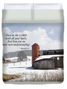 Barn In Winter With Scripture Duvet Cover