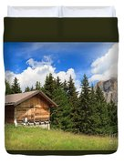 barn on Alpine pasture Duvet Cover