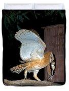 Barn Owl With Rat Duvet Cover