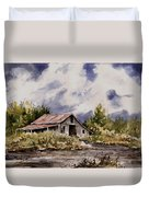 Barn Under Puffy Clouds Duvet Cover