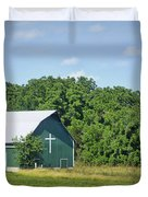 Barn With A Cross Duvet Cover by Cricket Hackmann