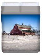 Barn With Melting Snow Duvet Cover