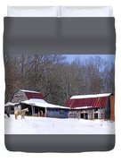 Barns And Horses In Winter Duvet Cover