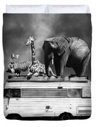 Barnum And Bailey Goes On A Road Trip 5d22705 Vertical Black And White Duvet Cover