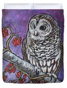 Barred Owl And Berries Duvet Cover