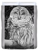 Barred Owl In Black And White Duvet Cover