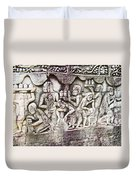 Bas-reliefs Of Khmer Daily Activities In The Bayon In Angkor Thom-cambodia  Duvet Cover