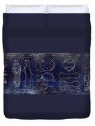 Baseball Patent Blue Duvet Cover