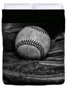 Baseball Broken In Black And White Duvet Cover