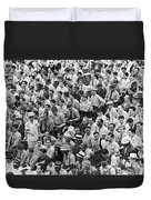 Baseball Fans In The Bleachers At Yankee Stadium. Duvet Cover by Underwood Archives