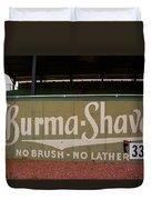 Baseball Field Burma Shave Sign Duvet Cover