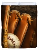 Baseball Glove And Baseball Duvet Cover