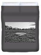 Baseball - Home Plate - Black And White Duvet Cover