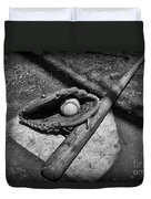 Baseball Home Plate In Black And White Duvet Cover