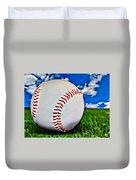 Baseball In The Grass Duvet Cover
