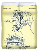 Baseball Mask Patent Yellow Us2627602 A Duvet Cover