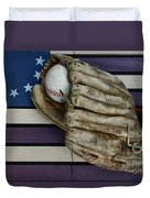Baseball Mitt On American Flag Folk Art Duvet Cover