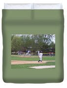 Baseball Pitcher The Delivery Duvet Cover