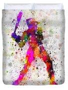 Baseball Player - Holding Baseball Bat Duvet Cover