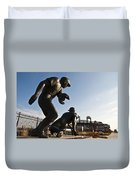 Baseball Statue At Citizens Bank Park Duvet Cover by Bill Cannon