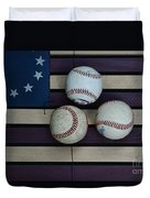 Baseballs On American Flag Folkart Duvet Cover