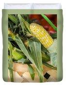 Basket Farmers Market Corn Duvet Cover