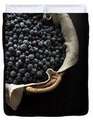 Basket Full Fresh Picked Blueberries Duvet Cover by Edward Fielding
