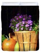 Basket Of Asters With Pumpkin And Gourd Duvet Cover