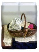 Basket With Cloth And Measuring Tape Duvet Cover