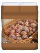 Basket With Easter Eggs Duvet Cover