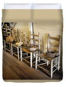 Baskets On Ladder Back Chairs Duvet Cover by Lynn Palmer