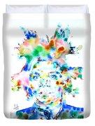 Basquiat Jean Michel Watercolor Portrait Duvet Cover