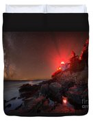 Bass Harbor Lighthouse Milky Way Duvet Cover