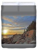Bass Harbor Lighthouse Sunset Landscape Duvet Cover