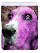 Basset Hound - Pop Art Pink Duvet Cover