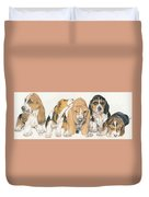 Basset Hound Puppies Duvet Cover by Barbara Keith