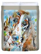 Basset Hound - Watercolor Portrait.1 Duvet Cover