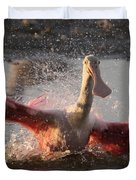 Bath Time - Roseate Spoonbill Duvet Cover