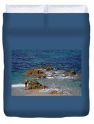 Bathing In The Sea - La Coruna Duvet Cover by Mary Machare