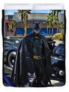 Batmobile And Batman Duvet Cover by Tommy Anderson