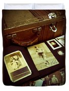 Battered Suitcase Of Antique Photographs Duvet Cover