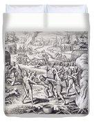 Battle Between Tuppin Tribes Duvet Cover
