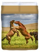 Battling Stallions Duvet Cover