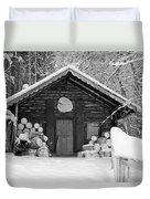 Bavarian Hut In Snow Duvet Cover