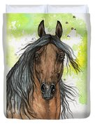 Bay Arabian Horse Watercolor Painting  Duvet Cover