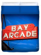 Bay Arcade Sign In Newport Beach Balboa Peninsula Duvet Cover