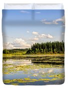 Bay At The Waskesiu Lake With Lily Duvet Cover